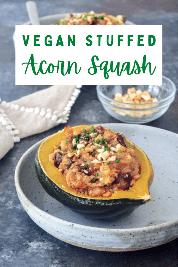 vegan stuffed acorn squash: a mixture of amaranth grain cooked in vegetable broth with dried apricots and nuts served in a cooked acorn squash half