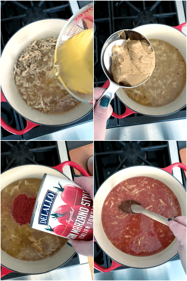 collage showing how to make peanut soup: add broth, peanut butter, diced tomatoes, stir and simmer for 30 minutes