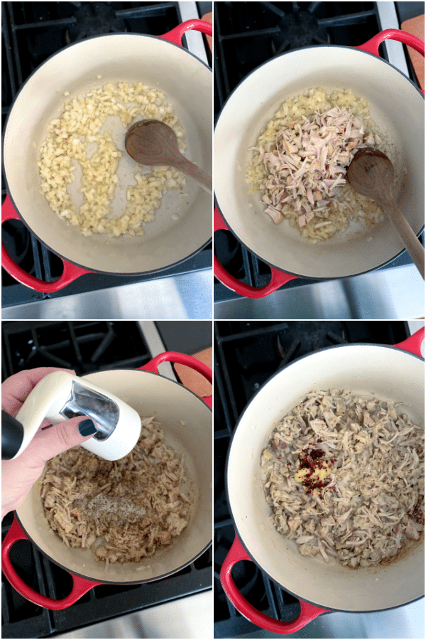 collage showing how to make peanut soup: saute onion and garlic, add shredded jackfruit, salt, pepper, and chili flakes