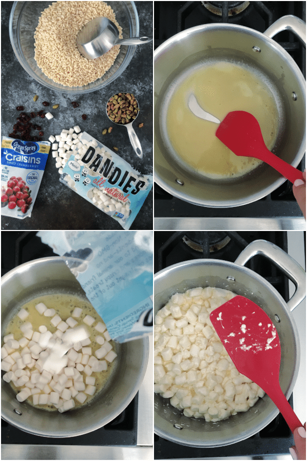 a photo collage showing how to make pistachio rice crispies: melt butter, add marshmallows, stir and melt