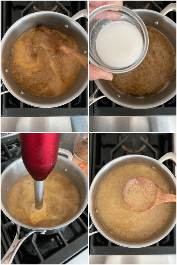 photo collage showing how to make vegan mushroom gravy: stir to combine, add thickener, blend with hand blender.